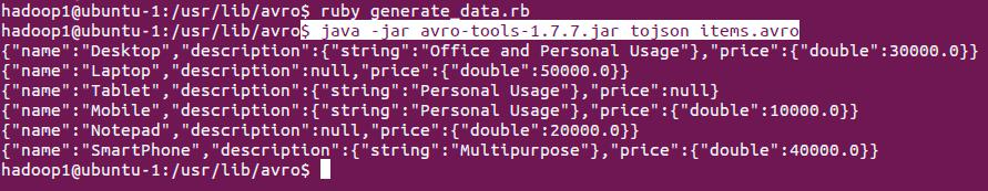 avro data in JSON format